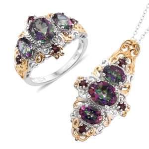 Doorbuster Northern Lights Mystic Topaz, Orissa Rhodolite Garnet 14K YG and Platinum Over Sterling Silver Crown Style Ring (Size 5) and Pendant With Chain (20 in) TGW 8.82 cts.