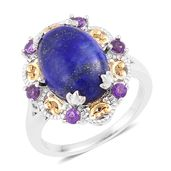 Lapis Lazuli, Amethyst 14K YG Over and Sterling Silver Cocktail Ring (Size 8.0) TGW 7.70 cts.