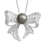 Tahitian Pearl (9-10 mm) Sterling Silver Bow Pendant With Chain (18 in)