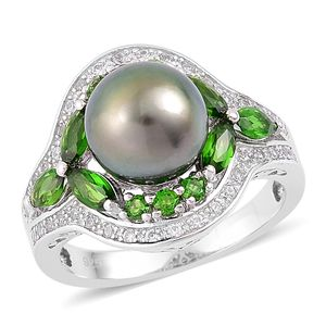 Tahitian Pearl, Russian Diopside, White Zircon Sterling Silver Ring (Size 7.0) TGW 1.80 cts.
