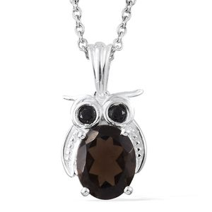 Brazilian Smoky Quartz, Thai Black Spinel Sterling Silver Owl Pendant With Stainless Steel Chain (20 in) TGW 2.71 cts.