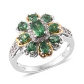 Emeraldine Apatite, Cambodian Zircon 14K YG and Platinum Over Sterling Silver Floral Ring (Size 6.0) TGW 2.44 cts.