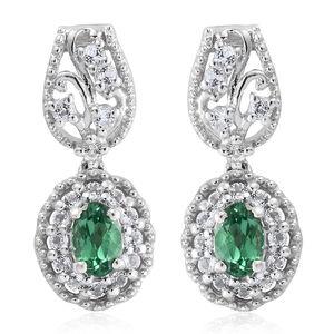 Emeraldine Apatite, White Topaz Platinum Over Sterling Silver Dangle Earrings TGW 1.76 cts.