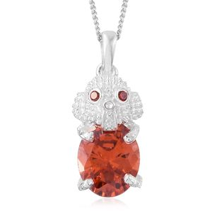 Simulated Orange Diamond Sterling Silver Elephant Pendant With Stainless Steel Chain (20 in) TGW 4.25 cts.