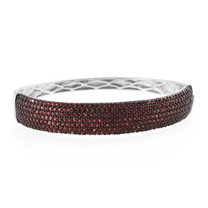 Mozambique Garnet Platinum Over Sterling Silver Bangle (7.25 in) TGW 9.88 cts.