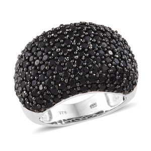 Thai Black Spinel Black Rhodium & Platinum Over Sterling Silver Dome-shaped Ring (Size 5.0) TGW 8.15 cts.