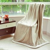 Beige and Gold Foil Print Microfiber Sherpa Throw