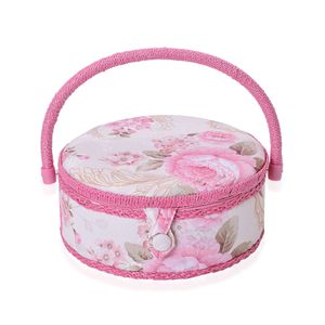 Handcrafted Pink 2-Tier Magnetic Snap and Handle Organizer with Sewing Kit Tools (9x5. 4x5)