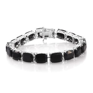 Australian Black Tourmaline Platinum Over Sterling Silver Faceted Tennis Bracelet (7.50 In) TGW 57.60 cts.