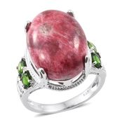 Norwegian Thulite, Russian Diopside Platinum Over Sterling Silver Ring (Size 7.0) TGW 20.10 cts.