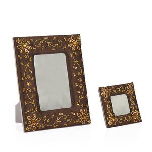 Brown Hand Embroidery Set of 2 Photo Frames (6x4,2x2 in)