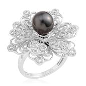 Tahitian Pearl (8-8.5 mm) Sterling Silver Floral Spinner Ring (Size 6.0)