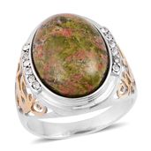 Unakite, White Austrian Crystal ION Plated YG and Stainless Steel Men's Ring (Size 9.0) TGW 3.24 cts.