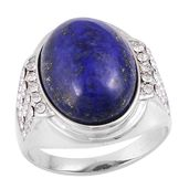 Lapis Lazuli, White Austrian Crystal Stainless Steel Men's Ring (Size 12.0) TGW 3.80 cts.