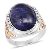 Sodalite, White Austrian Crystal ION Plated YG and Stainless Steel Men's Ring (Size 12.0) TGW 3.24 cts.