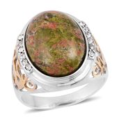 Unakite, White Austrian Crystal ION Plated YG and Stainless Steel Men's Ring (Size 13.0) TGW 3.24 cts.