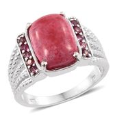 Norwegian Thulite, Morro Redondo Pink Tourmaline Platinum Over Sterling Silver Ring (Size 11.0) TGW 7.90 cts.