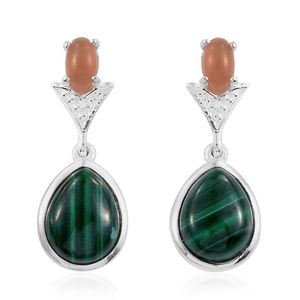 African Malachite, Orange Moonstone Sterling Silver Earrings TGW 6.94 cts.