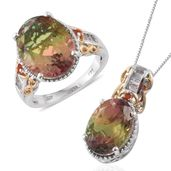 Rainbow Genesis Quartz, White Topaz, Cherry Fire Opal 14K YG and Platinum Over Sterling Silver Ring (Size 7) and Pendant With Chain (20 in) TGW 19.08 cts.