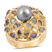 Tahitian Pearl, Abalone Shell, Russina Diopside 14K YG Over Sterling Silver Ring (Size 10.0) TGW 0.25 cts.