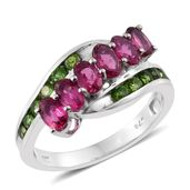 Ouro Fino Rubellite, Russian Diopside Platinum Over Sterling Silver Bypass Ring (Size 9.0) TGW 2.19 cts.