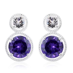 Simulated Purple Diamond Sterling Silver Earrings Made with SWAROVSKI White Crystal TGW 8.24 cts.