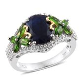 Kanchanaburi Blue Sapphire, Russian Diopside, Cambodian Zircon 14K YG and Platinum Over Sterling Silver Ring (Size 9.0) TGW 6.10 cts.