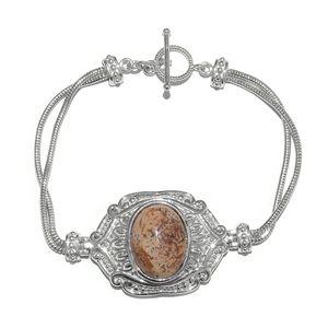 KARIS Collection - Picture Jasper Platinum Bond Brass Bracelet (7.50 In) TGW 14.40 cts.