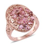 Morro Redondo Pink Tourmaline 14K RG Over Sterling Silver Ring (Size 10.0) TGW 2.14 cts.