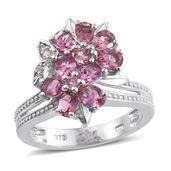 Morro Redondo Pink Tourmaline, Cambodian Zircon Platinum Over Sterling Silver Ring (Size 7.0) TGW 1.53 cts.