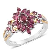 Ouro Fino Rubellite 14K YG and Platinum Over Sterling Silver Ring (Size 6.0) TGW 1.24 cts.