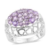 KARIS Collection - Rose De France Amethyst Platinum Bond Brass Ring (Size 5.0) TGW 2.08 cts.