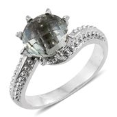 Green Amethyst Stainless Steel Solitaire Ring (Size 7.0) TGW 3.15 cts.