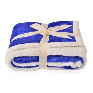 Royal Blue 100% Polyester Cozy Damask Embossed Plush and Sherpa Blanket (50x60 in)