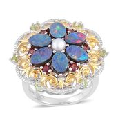 Australian Boulder Opal, Multi Gemstone 14K YG and Platinum Over Sterling Silver Flower Ring (Size 10.0) TGW 3.32 cts.