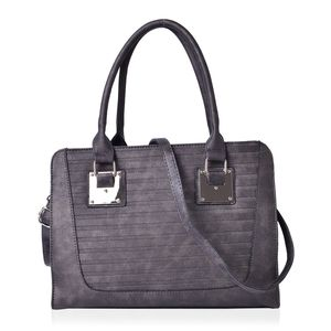 Dark Bronze Stripe Embossed Faux Leather Tote Bag with Removable Strap (48in) (13.5x5x10 in)