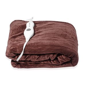 TLV Brown Electric Heated Micro Plush Flannel Sherpa Throw  Blanket (50x60 in)