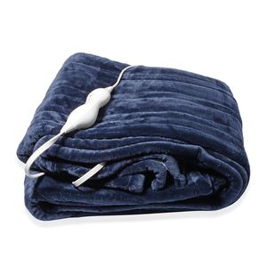 TLV Blue Electric Heated Micro Plush Flannel Sherpa Throw Blanket (50x60 in)