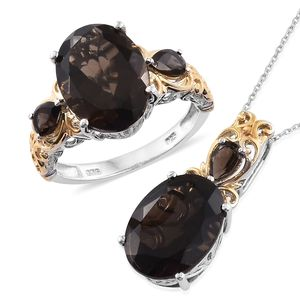 Doorbuster Brazilian Smoky Quartz 14K YG and Platinum Over Sterling Silver Royal Work Ring (Size 7) and Pendant With Chain (20 in) TGW 17.62 cts.