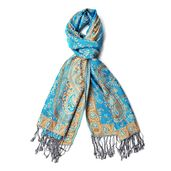 Tan, Camel, and Teal 100% Viscose Reversible Paisley and Scroll Leave Pattern Scarf with Fringes (72x24 in)