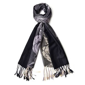 Black 60% Acrylic & 40% Viscose Rose Pattern Scarf with Fringes (72x28 in)