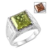 Alexite, Cambodian Zircon Platinum Over Sterling Silver Men's Ring (Size 14.0) TGW 9.10 cts.