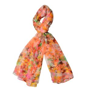 Tangerines, Yellow and Green 40% Natural Mulberry Silk and 60% Polyester Flower Pattern Scarf (64x40 in)