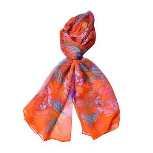 Tangerines, Yellow and Blue 40% Natural Mulberry Silk and 60% Polyester Butterfly and Flower Pattern Scarf (64x40 in)