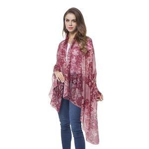 Wine Red Flower Pattern 100% Natural Mulberry Silk Scarf (43.31x70.87 in)