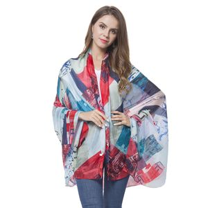 Light Blue, Navy and Red Block Pattern 100% Natural Mulberry Silk Scarf (43.31x70.87 in)