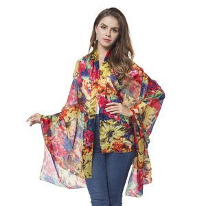 Red, Yellow and Navy Flower Pattern 100% Natural Mulberry Silk Scarf (43.31x70.87 in)
