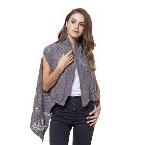 Gray 100% Acrylic Knitted Argyle Pattern Kimono (One Size)