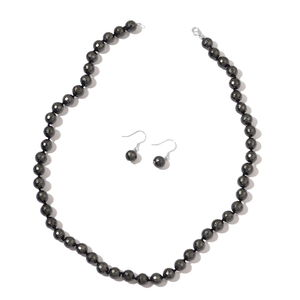 Tahitian Color Shell Pearl Sterling Silver Earrings and Necklace (18 in)