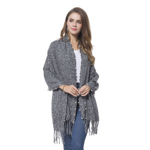 Resin Pearl, Gray 100% Acrylic Shawl with Tassles (74.8x25.98 in)